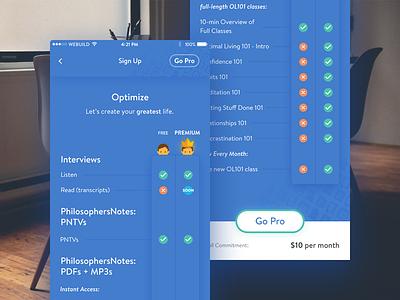 Free vs Premium app ios subscription benefits premium
