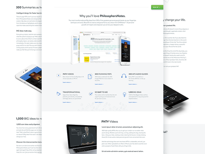 Why you'll love PhilosophersNotes icons mockups benefits home web