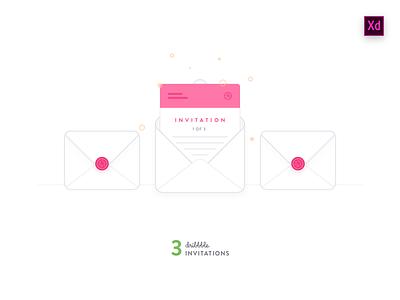3 Invitations icon envelope experience design xd adobe invite dribbble