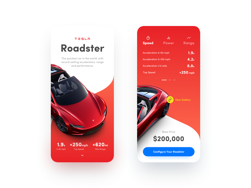 Tesla Roadster – Experimental Project gradients shadows mockups iphone x responsive web design rwd mobile web roadster cars tesla