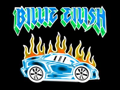Billie Eilish burning car airbrush