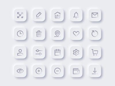 Neumorphism Icon Set ecommerce design skeumorphism icon set ecommerce neumorphism neumorphic