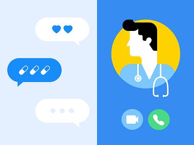 Telehealth Illustration messenger illustration healthcare app telemedicine telehealth