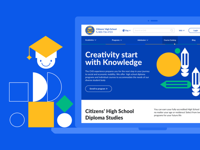 High School Website website design ui design edtech illustration school app lms elearning