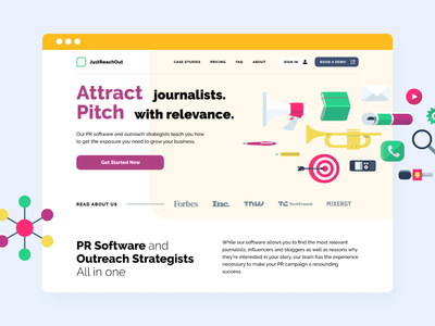Just Reach Out  – SaaS platform for media pitching. landing ux design media saas illustration ui design
