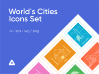 Free World Cities Icons Set