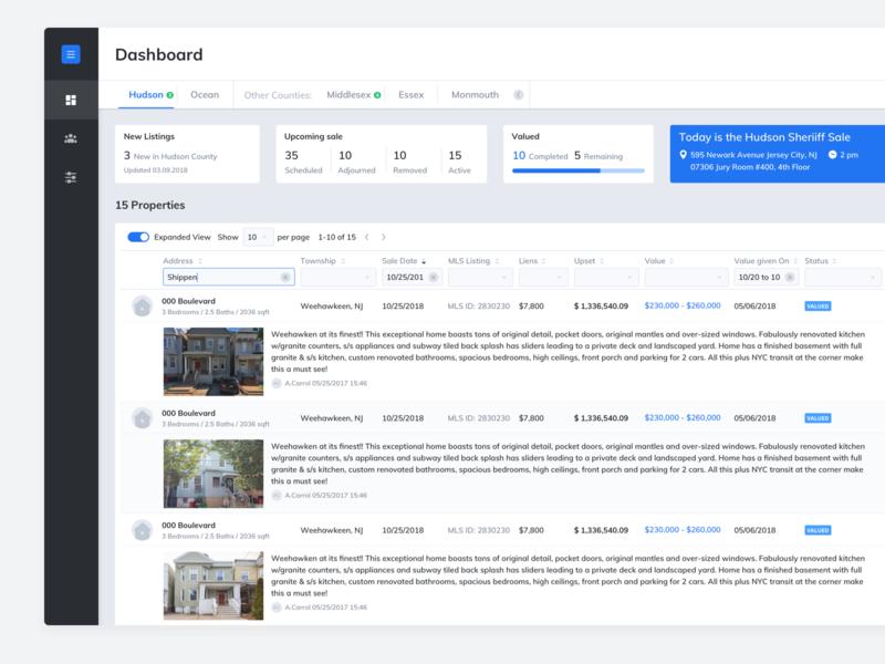 Real Estate Management System proptech real estate filters listing dashboard ui design ux design