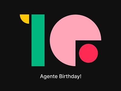 AGENTE turns 10! illustration agente 10 years anniversary birthday birthday cake birthday card