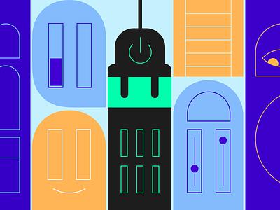 Smart Building icons design property management smart building real estate proptech illustration