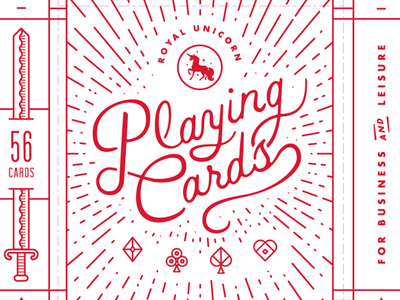 Unicorn Playing Cards lettering cards pips sword