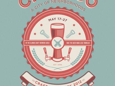 Chicago's craft beer week poster logo emblem chicago beer icon