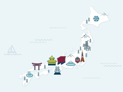 Japan Map design icon illustration