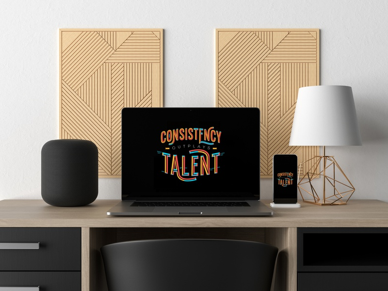 Consistency Outplays Talent – Wallpaper & Poster giveaway discount interior decoration type art frame wallpaper poster typography quote