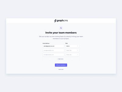 Invite Team Members minimal headless ux ui invitation invite team web app cms inter