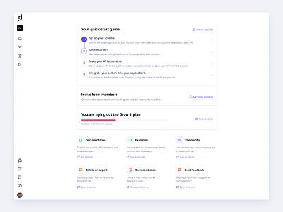 Welcome Screen project dashboard checklist inter web app widgets onboarding welcome screen dashboard cms headless cms