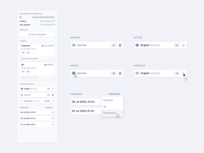 Document Sidebar localization versions design system components states interactions info sidebar widgets inter headless cms cms app