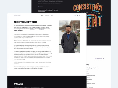 About – darshan.design gilroy header webflow designer visual hierarchy typography content about portfolio