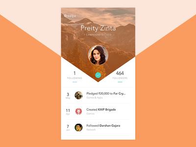 Crowdfunding User Profile user card profile ui