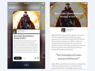 News Reader iOS App – Blog dr strange marvel freebie app ui blog reader news ios