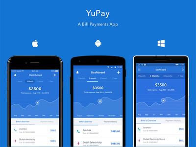 YuPay – A Bill Payments App app design finance app dubai uae windows uwp windows ios android bill payment app