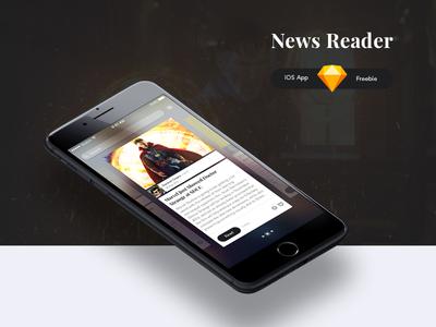 News Reader – iOS App FREEBIE interaction ui kit article blog cards ux ui freebie rss app news ios