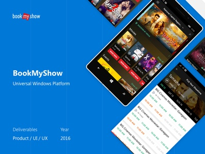 BookMyShow – Universal Windows Platform ticket movie booking portfolio presentation interaction ux ui case study windows 10 uwp bookmyshow