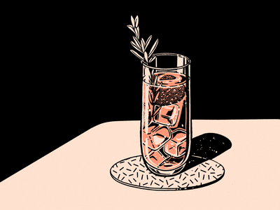 Brunch design foodie food procreate illustration cocktails texture retro vintage drink party cocktail