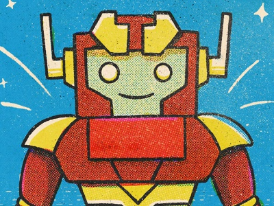 Model ZX4-04.3, Detail robot art halftone character retro texture procreate illustration