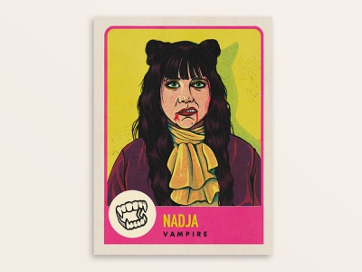 Nadja the vampire, What We Do In The Shadows vintage retro movie art characterdesign tv show procreate portrait illustration vampire nadja trading card