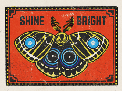 Shine Bright Matchbook #1 drawing digital illustration typography retro matches insect design art halftone moth matchbook vintage procreate texture illustration