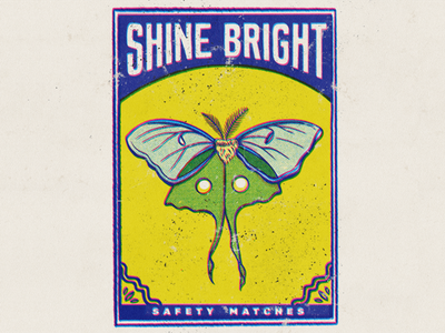 Shine Bright Matchbook #2 drawing digital illustration matchbook matches insects moth hand drawn type typography vintage design art halftone retro procreate texture illustration