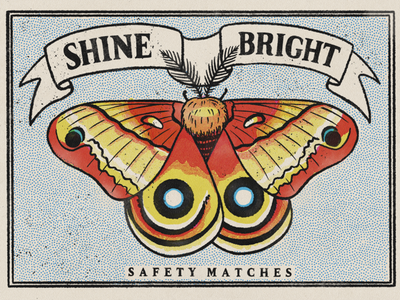Shine Bright Matchbook #3 drawing digital illustration insect vintage matchbook moth lettering hand drawn type design typography art halftone retro procreate texture illustration