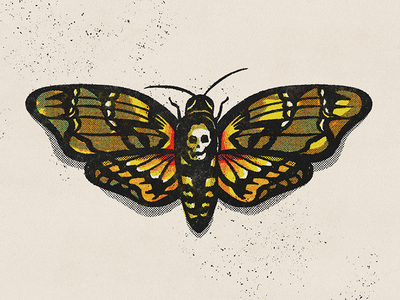 Death Moth drawing digital illustration digital art procreate illustration butterfly texture halftone insect moth