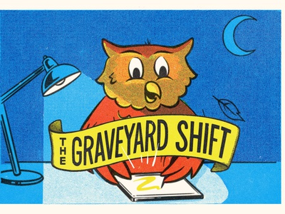 The Graveyard Shift logo animal night owl lettering digital art hand drawn type typography art character halftone retro procreate texture illustration