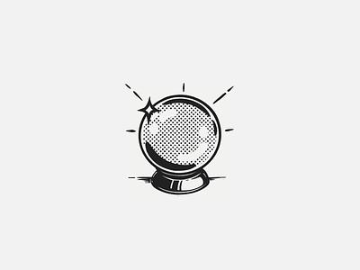 Fortune icon retro crystal ball fortune icon design icon halftone illustration