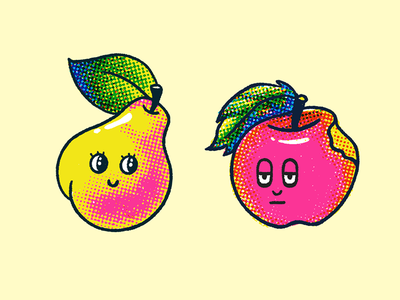 Pear and Apple fruits fruit illustration color spot illustration apple pear fruit characters art character halftone retro texture illustration
