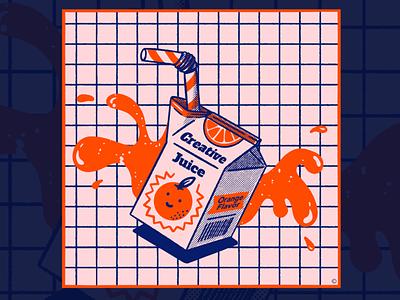 Creative Juice creative juice orange juice orange halftone retro procreate texture illustration