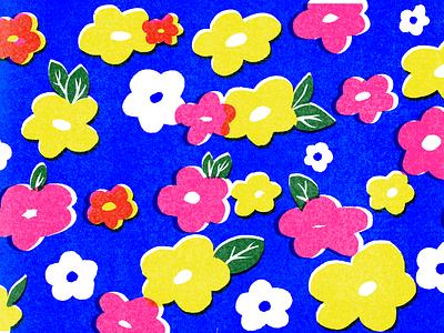 Flowers overlay zoom wallpaper pattern flowers retro texture illustration