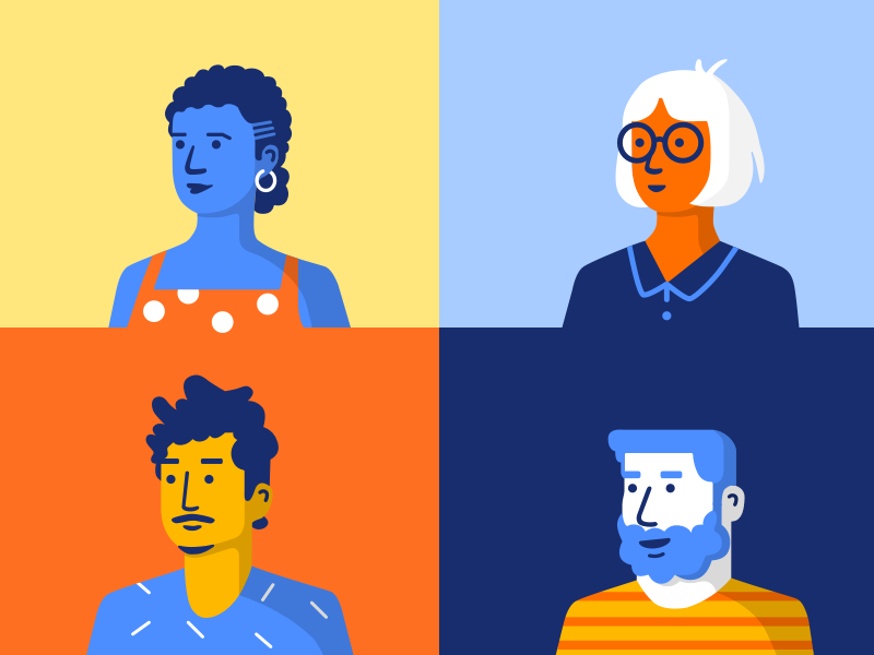Keybase People Style onboarding illustration design avatar people style exploration illustration