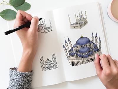 Mojimix Blue Mosque Sticker Sketches turkey istanbul moque emoji sticker digitalart graphic art creative