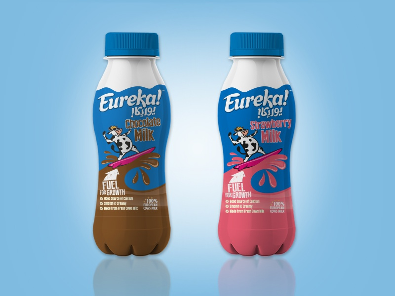 Eureka! Dairy Drinks logo type arabic type milkshake strawberry chocolate branding illustrations arabic lettering logo design creative