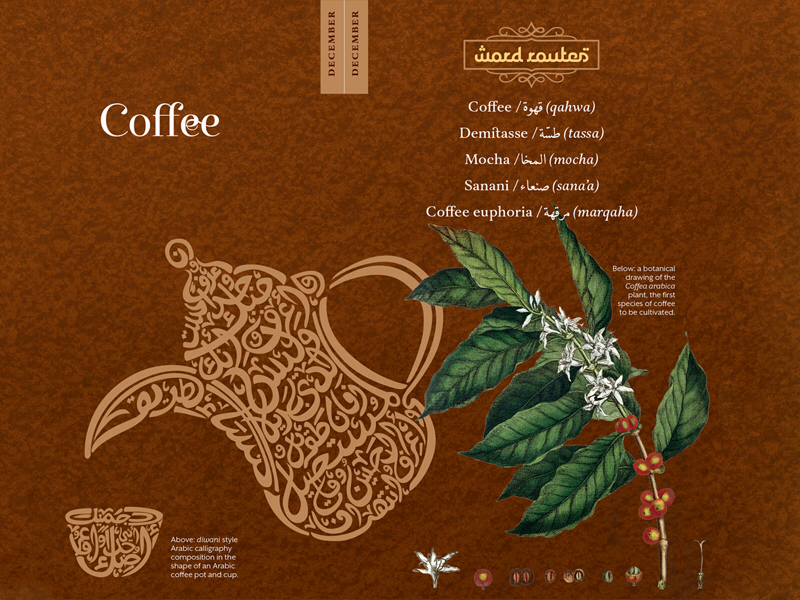 Echoes of Arabia: Coffee multilingual layout design graphic design coffee etymology arabic typography illustration design creative