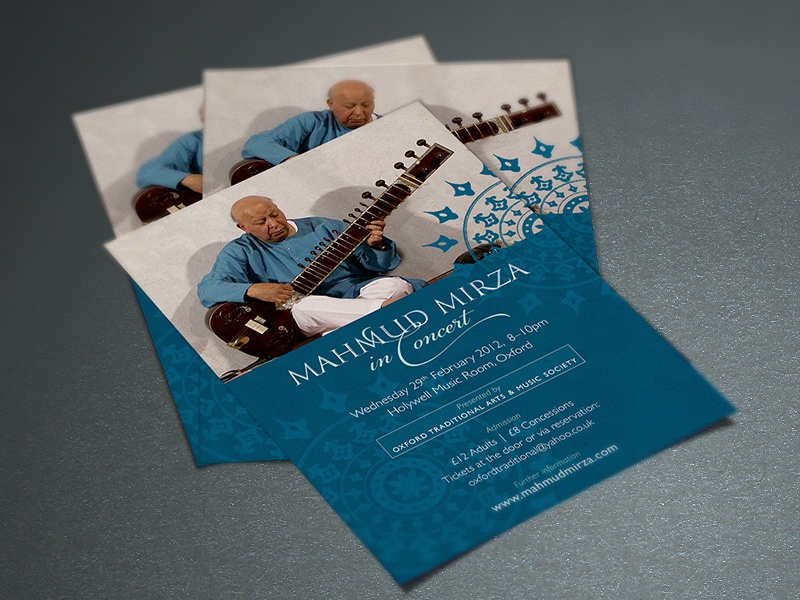 Mahmud Mirza concert flyer sitar concert worldmusic traditionalmusic indianmusic music tanpura flyer print design creative  design creative inspiraldesign