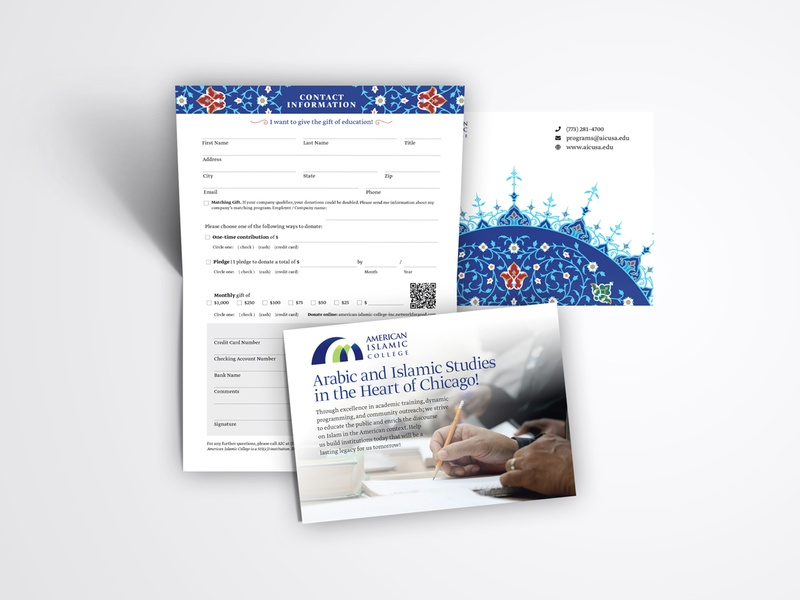 American Islamic College Leaflet gift pattern islam flyer print design creative inspiraldesign