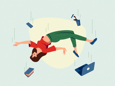 Falling - Illustration Process alone falling people girl flat vector illustration graphic character design character