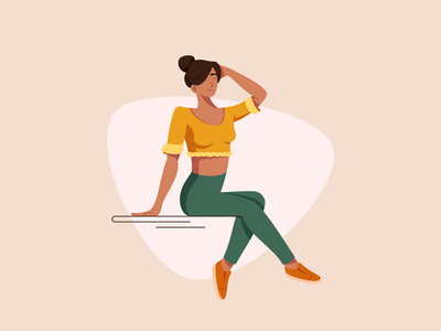 Sitting - Illustration Process woman sitting people girl flat vector illustration graphic character design character