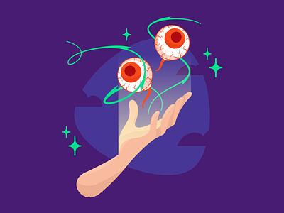 Halloween 2020 - Illustration Process spooky halloween eyes hand flat vector illustration graphic character design character