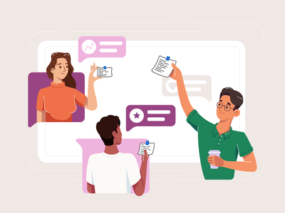 Team Work - Illustration Process remote work teamwork team people flat vector illustration graphic character design character
