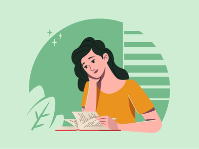 Reading - Illustration Process read reading book reading girl flat vector illustration graphic character design character