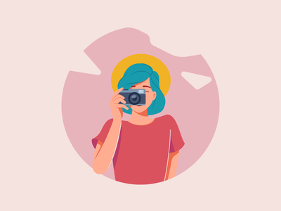 Photographer Girl photography camera photographer girl flat vector illustration graphic character design character